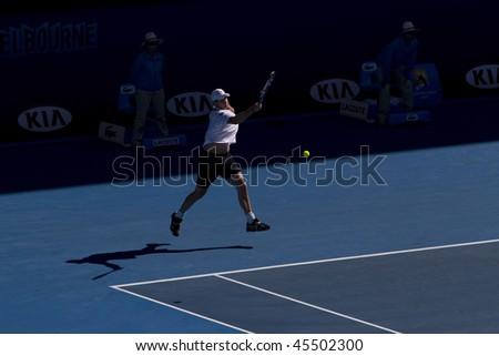 MELBOURNE, AUSTRALIA - JANUARY 26: Andy Roddick vs Marin Cilic's (Croatia) quarter finals game during the 2010 Australian Open on January 26, 2010 in Melbourne, Australia - stock photo