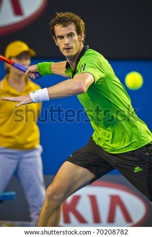 MELBOURNE, AUSTRALIA - JANUARY 30: Australian Open Men's Final, Andy Murray(GBR)[5] who was defeated by Novak Djokovic(SRB)[3] on January 30, 2011 in Melbourne, Australia - stock photo