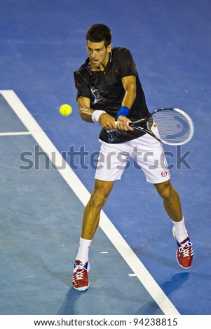MELBOURNE, AUSTRALIA - JANUARY 29: Australian Open Men's Final, Novak Djokovic of Serbia who defeated Rafael Nadal of Spain on January 29, 2012 in Melbourne, Australia - stock photo