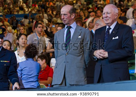 MELBOURNE, AUSTRALIA - JANUARY 28: Australian Open Women's Final, Prince Edward, Duke of Kent watches Victoria Azarenka defeat Maria Sharapova on January 28, 2012 in Melbourne, Australia - stock photo