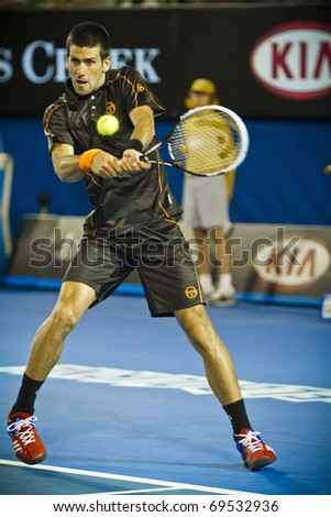 MELBOURNE, AUSTRALIA - JANUARY 17: 2011 Novak Djokovic(SRB)[3] who defeats  Marcel Granollers(ESP) at the Australian Open on January 17, 2011 in Melbourne, Australia - stock photo