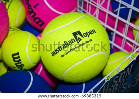 MELBOURNE, AUSTRALIA - JANUARY 26: Novelty tennis balls for sale at the Rod Laver Arena which holds the center court at the Australian Open, January 26, 2011 in Melbourne, Australia - stock photo