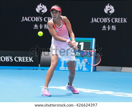 MELBOURNE, AUSTRALIA - JANUARY 27, 2016: Professional tennis player Shuai Zhang of China in action during her quarterfinal match at Australian Open 2016 at Rod Laver Arena in Melbourne Park - stock photo