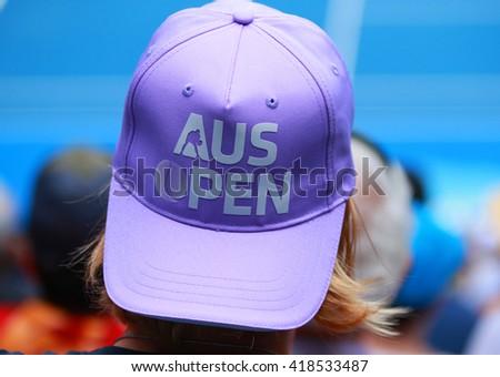 MELBOURNE, AUSTRALIA - JANUARY 27, 2016: Tennis fan during Australian Open 2016 at Australian tennis center in Melbourne Park - stock photo