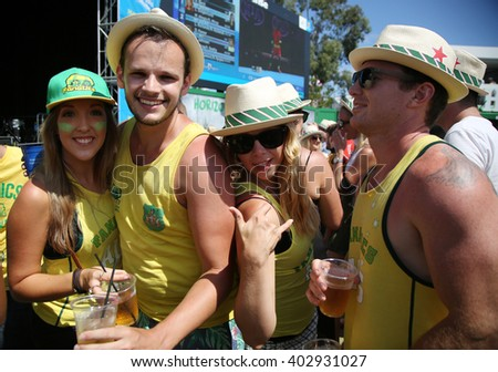 MELBOURNE, AUSTRALIA - JANUARY 23, 2016: Tennis fans enjoy Heineken Saturday in Heineken Beer Garden on Grand Slam Oval during Australian Open 2016 in Melbourne Park.  - stock photo
