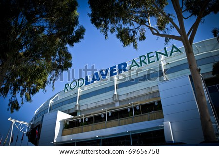 MELBOURNE, AUSTRALIA - JANUARY 22:  The Rod Laver Arena which holds the center court at the Australian Open, January 22, 2011 in Melbourne, Australia - stock photo