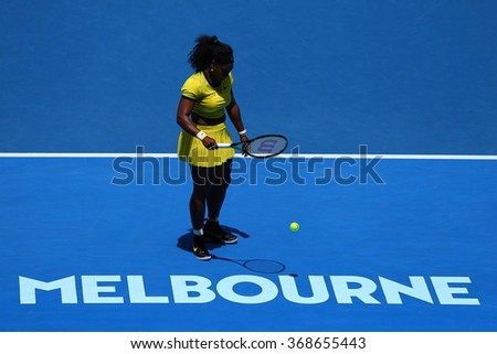MELBOURNE, AUSTRALIA - JANUARY 26, 2016:  Twenty one times Grand Slam champion Serena Williams in action during her quarterfinal match at Australian Open 2016 at Australian tennis center in Melbourne - stock photo