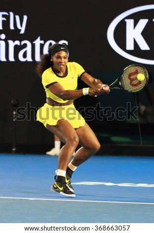 MELBOURNE, AUSTRALIA - JANUARY 28, 2016:  Twenty one times Grand Slam champion Serena Williams in action during her semifinal match at Australian Open 2016 at Australian tennis center in Melbourne - stock photo