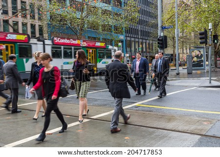 MELBOURNE, AUSTRALIA - JUNE 5, 2014: A street scene in Melbourne, Australia. Melbourne is the second most populated city in Australia. - stock photo