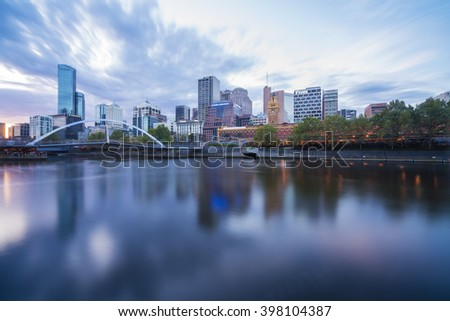 Melbourne, Australia - Mar 17, 2016:  View of skyline and Yarra River in Melbourne CBD at sunset - stock photo