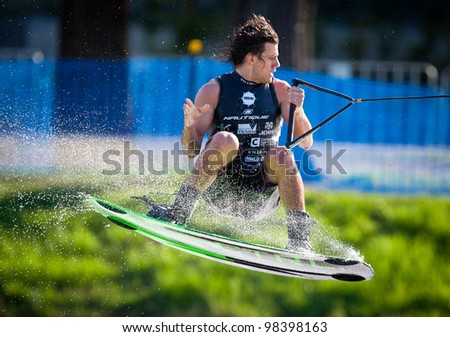 MELBOURNE, AUSTRALIA - MARCH 12: Dylan Prideaux in the wakeboard event at the Moomba Masters on March 12, 2012 in Melbourne, Australia - stock photo
