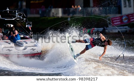 MELBOURNE, AUSTRALIA - MARCH 12: Mitch Daniel falls during the wakeboard event at the Moomba Masters on March 12, 2012 in Melbourne, Australia - stock photo