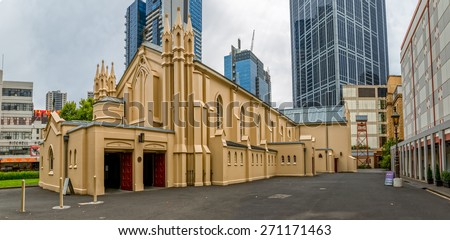 MELBOURNE, AUSTRALIA - MARCH 16, 2015: St. Francis' Catholic Church on corner of Elizabeth and Lonsdale Streets, listed on the Victorian Heritage Register and designed by Samuel Jackson. - stock photo