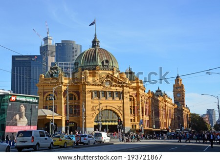 Melbourne, Australia - May 14, 2014: Historic Flinders Street Rail Station building on the banks of the Yarra River in Autumn. - stock photo