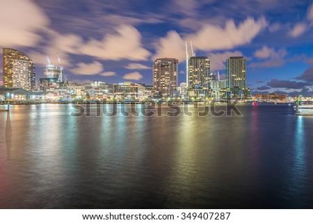 Melbourne, Australia. Night skyline from New Quay Promenade. City reflections. - stock photo