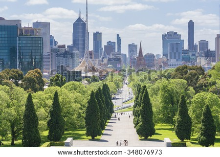 Melbourne, Australia - Nov 7, 2015: Skyline in downtown Melbourne, Australia during daytime - stock photo