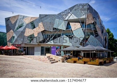 MELBOURNE, AUSTRALIA - OCTOBER 29: Iconic Federation Square celebrated 10 Years since opening on 26 October 2002.  It had more than 9 million visits in 2011 - 29 October 2012, Melbourne Australia - stock photo