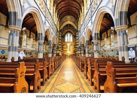 MELBOURNE, AUSTRALIA - OCTOBER 25, 2015: Interior design of St. Paul's Cathedral, St. Paul's Cathedral is a cathedral church of the Anglican Diocese of Melbourne, Victoria in Australia. - stock photo