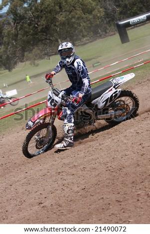 MELBOURNE, AUSTRALIA - October 11 2008: Woodstock 2008 Dirt Bike Master in Taralgon - #76 Andrew Nelson - stock photo