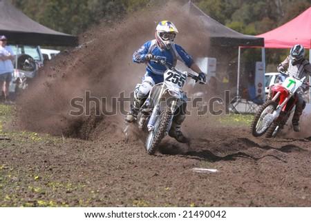 MELBOURNE, AUSTRALIA - October 11 2008: Woodstock 2008 Dirt Bike Master in Taralgon - #255 Pete Kyle - stock photo