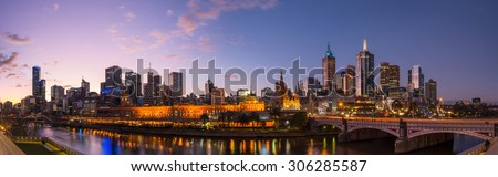 Melbourne city in the evening time, Victoria state, Australia. - stock photo
