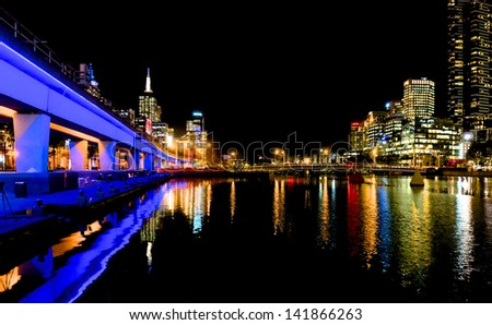 Melbourne city lights, looking down the yarra river - stock photo