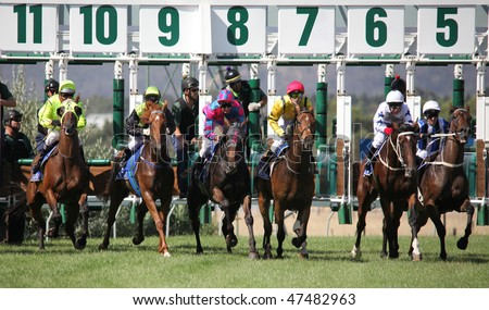 MELBOURNE - FEBRUARY 21: Horses at the start of the De Bortoli Plate, won by On the Scoot at Yarra Glen on February 21, 2010 near Melbourne, Australia. - stock photo