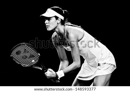 MELBOURNE - JANUARY 20: Ana Ivanovic of Serbia in her fourth round loss to Agnieszka Radwanska  of Poland at the 2013 Australian Open on January 20, 2013 in Melbourne, Australia. - stock photo