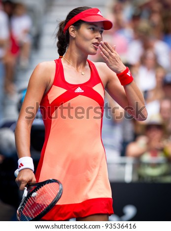 MELBOURNE - JANUARY 21: Ana Ivanovic of Serbia in her third round win over Vania King of USA at the 2012 Australian Open on January 21, 2012 in Melbourne, Australia. - stock photo