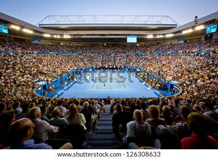 MELBOURNE - JANUARY 27: Crowd at Rod Laver Arena during the 2013 Australian Open Mens Championship Final on January 27, 2013 in Melbourne, Australia. - stock photo