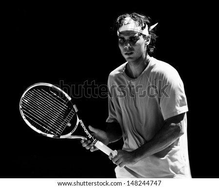MELBOURNE - JANUARY 16: Rafauel Nadal of Spain at a practice session in the lead up to the Australian Open on January 16, 2010 in Melbourne - stock photo