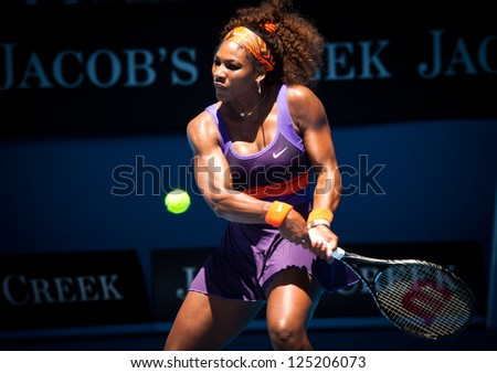 MELBOURNE - JANUARY 19: Serena Williams in her third round win over Ayumi Morita of Japan at the 2013 Australian Open on January 19, 2013 in Melbourne, Australia. - stock photo