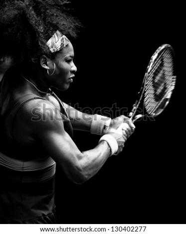 MELBOURNE - JANUARY 17: Serena Williams of the USAin her second round win over Garbine Muguruza of Spain at the 2013 Australian Open on January 17, 2013 in Melbourne, Australia. - stock photo