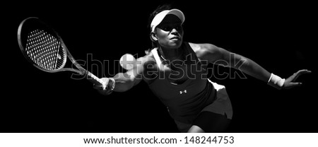 MELBOURNE - JANUARY 23: Sloane Stephens of USA in her quarter final win over Serena Williams of USA at the 2013 Australian Open on January 23, 2013 in Melbourne, Australia - stock photo