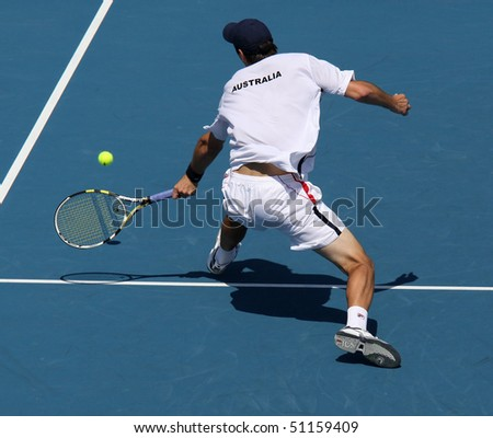 MELBOURNE - MARCH 6: Carsten Ball of Australia  in the doubles rubber of the Davis Cup tie against Chinese Taipei on March 6, 2010 in Melbourne - stock photo