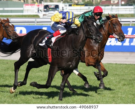MELBOURNE - MARCH 13: Solchow ridden by Craig Williams racing to the finish of the ATA Bob Hoysted Handicap won by Devil May Care at Flemington on March 13, 2010 - Melbourne, Australia. - stock photo
