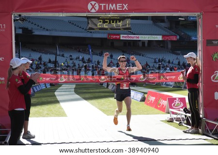 MELBOURNE - OCTOBER 11: Competitor Dale Engler claims 3rd place in the 2009 Melbourne marathon, in a time of 02:24:41 October 11, 2009 in Melbourne. - stock photo
