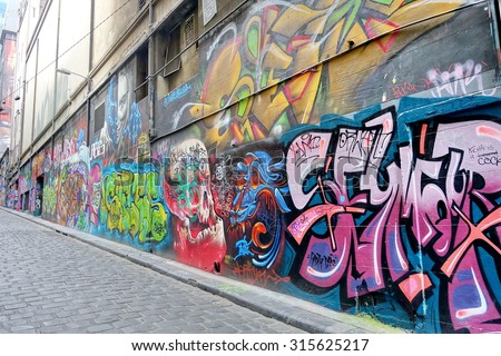 MELBOURNE - 20 OCTOBER 2015 : Street art by unidentified artist. Melbourne's graffiti management plan recognises the importance of street art in a vibrant urban culture. - stock photo