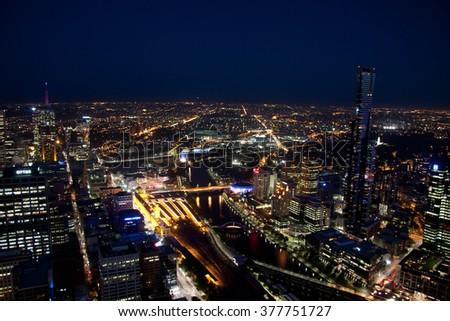 Melbourne skyline at night - stock photo