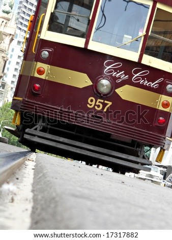 Melbourne Tram on a jaunty angle - stock photo