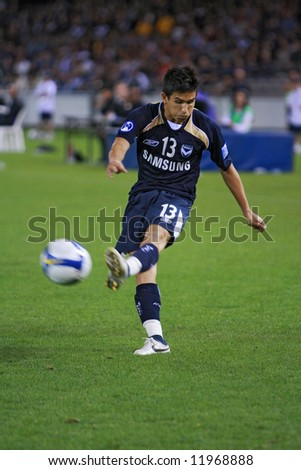 Melbourne Victory FC vs Gamba Osaka - Telstra Dome, 9th April '08 (#13 PATAFTA, Kaz) - stock photo