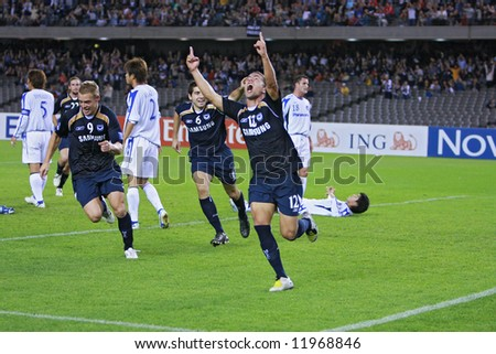 Melbourne Victory FC vs Gamba Osaka - Telstra Dome, 9th April '08 (#12 VARGAS, Rodrigo) - stock photo