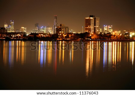 Melbourne  view at  night - stock photo