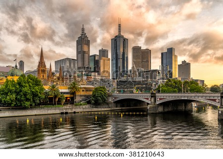 Melbournes from Southbank - stock photo