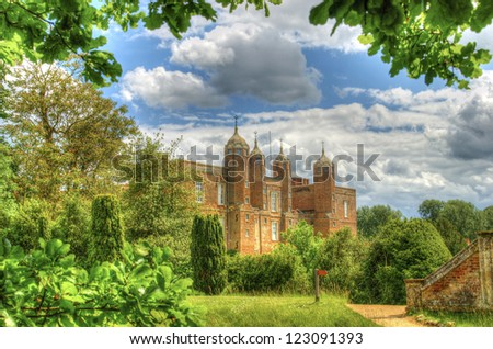 Melford Hall in all it's glory in the summertime - stock photo
