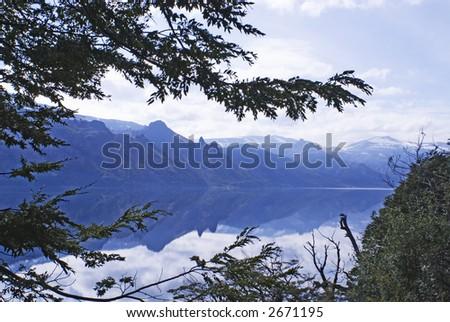 Meliquina Lake Reflection, Patagonia, Argentina - stock photo