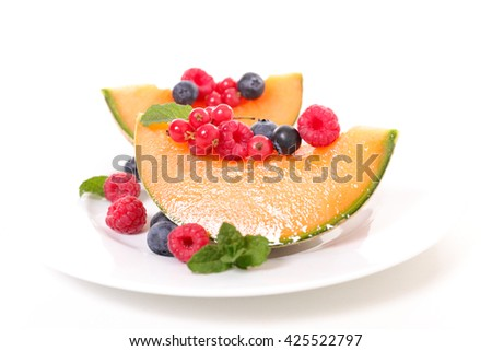 melon and berry fruit - stock photo