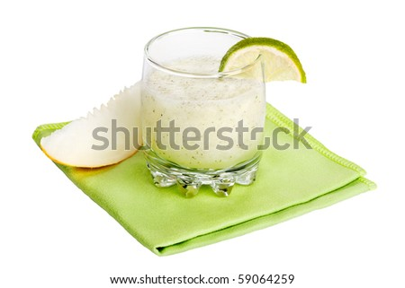 Melon and lime cocktail isolated on white - stock photo