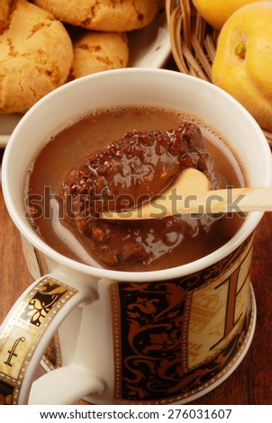 melt chocolate in hot water - stock photo
