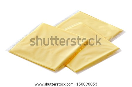 melted cheese for cheeseburgers in plastic packets - stock photo